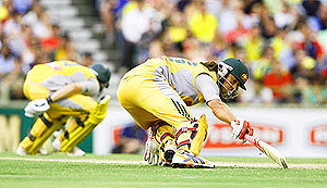 Australian batsman Andrew Symonds during play - AAP Image/Tony McDonough