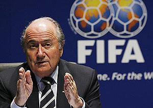 FIFA President Sepp Blatter answers journalists' questions during a press conference in Zurich, Switzerland, on Monday Oct. 29, 2007. FIFA's executive committee voted unanimously to end its policy of rotating the hosting of World Cups. AP Photo/Keystone, Steffen Schmidt