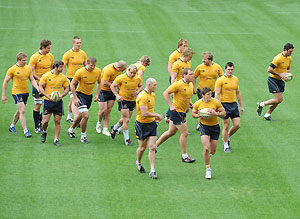 The Australian Wallabies during the team training session in Brisbane, Friday, July 4, 2008. AAP Image/Dave Hunt