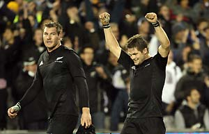 All Blacks captain Richie McCaw celebrates a 39-10 victory over the Wallabies during the Rugby Union Bledisloe Cup Australia v New Zealand rugby test match at Eden Park in Auckland, New Zealand, Saturday, August 2, 2008. AAP Image/Photosport, Andrew Cornaga