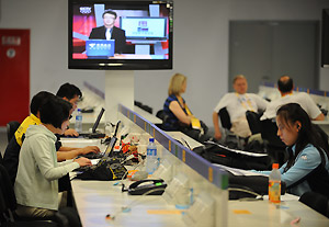 The international media work in the Main Press Centre (MPC) at the Beijing 2008 Olympic Games, Friday, Aug. 1, 2008. The world\'s media covering the Games are concerned about the restricted access to the internet being implemented by Chinese authorities. AAP Image/Dean Lewins