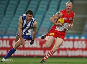Barry Hall of Sydney evades Daniel Pratt of North Melbourne during the AFL 2nd Elimination Final between the Sydney Swans and the North Melbourne Kangaroos at ANZ Stadium. GSP Images