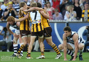 Hawthorn players celebrate winning the 2008 Toyota AFL Grand Final between the Geelong Cats and the Hawthorn Hawks at the MCG. GSP images
