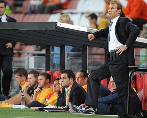 Australia's coach Pim Verbeek reacts from the sideline during the friendly match between The Netherlands and Australia at the Philips stadium in Eindhoven, southern Netherlands, Saturday, Sept. 6, 2008. AP Photo/Ermindo Armino