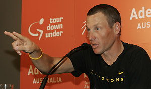 Seven-time Tour de France champion Lance Armstrong of the U.S. addresses a press conference for the Tour Down Under cycling race in Adelaide, Australia, Saturday, Jan. 17, 2009. AP Photo/Aman Sharma