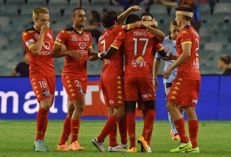 Adelaide United Celebrate during an A-League match