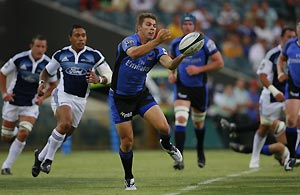 Drew Mitchell of the Western Force moves into attack during the Rugby match against The Blues in Perth, Friday, Feb. 13, 2009. AAP Image/Tony McDonough