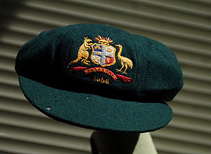 "A ""baggy green"" cricket cap worn by all-rounder Keith Miller in 1956 is shown in Melbourne, Wednesday, Dec. 6, 2006. The hat is one of 1,017 lots of cricket memorabilia to be auctioned over two days at Charles Leskie Auctions and is expected to fetch at least $20,000. AAP Image/Julian Smith"