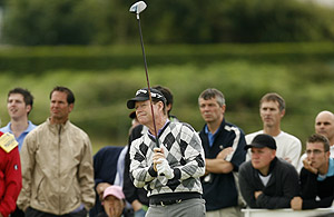 Tom Watson of the US plays a shot on the fifth tee during the opening round of the British Open Golf championship, at the Turnberry golf course, Scotland, Thursday, July 16, 2009. AP Photo/Peter Morrison