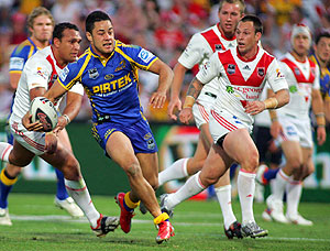 Jarryd Hayne On The Way To Tryline AAP Image Action Photographics