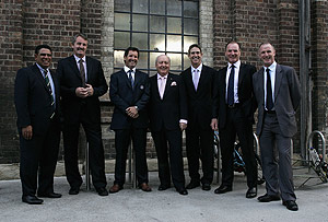 1984 Grand Slam Wallabies Mark Ella, Steve Williams, current coach Robbie Deans, Alan Jones, Roger Gould, Simon Poidevin and Andrew Slack arrive at the John Eales Medal Awards in Sydney, Thursday, Oct. 22, 2009. AAP Image/Sergio Dionisio