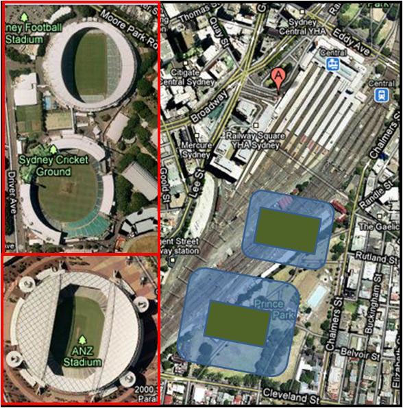 Image Google Maps: Central Stadia, a 70,000+ seat stadium and a 15,000 seat stadium build over the tracks and part of Prince Park in downtown Sydney. Inserts of ANZ stadium, the SCG and the SFS show the relative size of the new stadia.