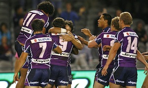 Melbourne Storm celebrate a Cameron Smith try