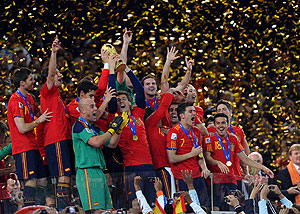 Spain players celebrate winning the World Cup