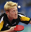 Germany's Christian Suss keeps his eyes on the ball. AP Photo/Chitose Suzuki