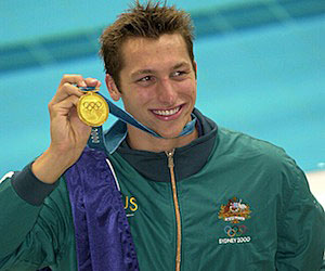 Ian Thorpe celebrates winning gold in the 400m freestyle on the first day of competition at the 2000 Sydney Olympics.
