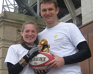 Jodie and Tom at Twickenham preparing to cycle to the Rugby World Cup