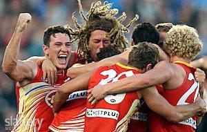 Gold Coast Suns win first AFL match.