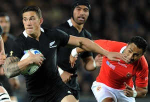 New Zealand's Sonny Bill Williams against Tonga in the Rugby World Cup pool match at Eden Park, Auckland, New Zealand