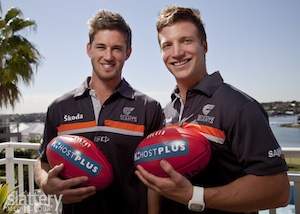 Callan Ward and Rhys Palmer pose after the GWS press conference to announce the new player signings for the Greater Western Sydney Giants in 2012,