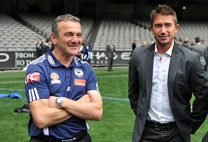 Australian soccer player Harry Kewell and Melbourne Victory coach Mehmet Durakovic. AAP Image/Julian Smith