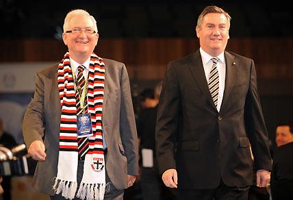 President of the Collingwood football Club Eddie Maguire and President of St Kilda Football Club Greg Westaway. AAP Image/Joe Castro