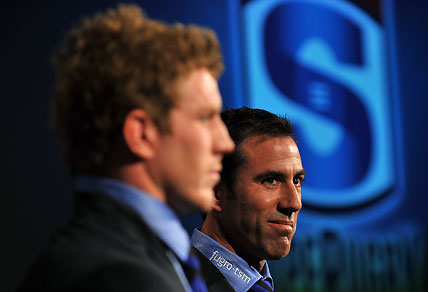 David Pocock (left) captain of the Western Force and coach Richard Graham. AAP Image/Paul Miller