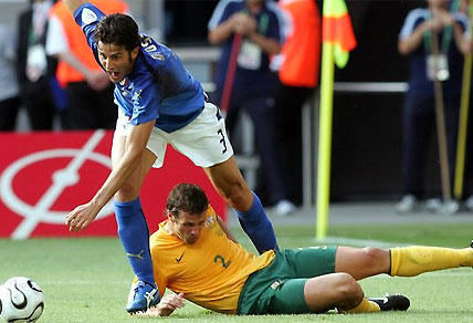 The infamous penalty conceded by Lucas Neill to Italy's Fabian Grosso in 2006