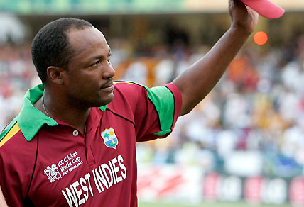 West Indies captain Brian Lara greets the crowd after playing his last international cricket match