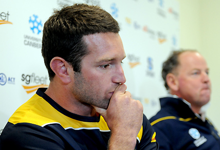NRL player Danny Buderus during a press conference with ACT Brumbies head coach Jake White in Canberra. AAP Image/Alan Porritt