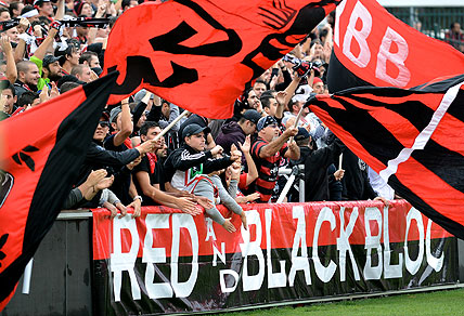 Western Sydney Wanderers' fan group. Photo AAP Image/Dean Lewins