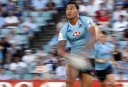 Fullback, Israel Folau of the NSW Waratahs in action with the football. (Photo: Paul Barkley/LookPro)