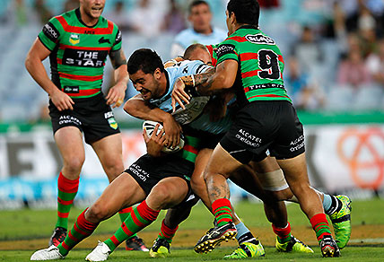 Andrew Fifita in action during the NRL Round 2, South Sydney Rabbitohs vs Cronulla Sharks match. (AAP Image/Action Photographics, Renee McKay)