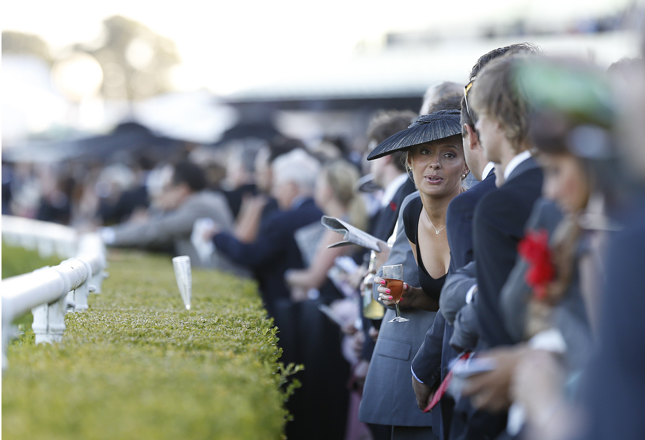 Racing fans line up for the start of Race 9 at Derby Day Randwick. (Photo: Paul Barkley/LookPro)