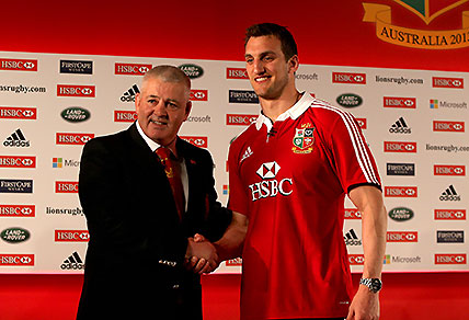 British & Irish Lions rugby head coach Warren Gatland with his captain Sam Warburton during the squad announcement at the London Hilton Syon Park, Middlesex, Tuesday April 30, 2013, prior to their tour of Hong Kong and Australia. (AP Photo/ David Davies, PA)