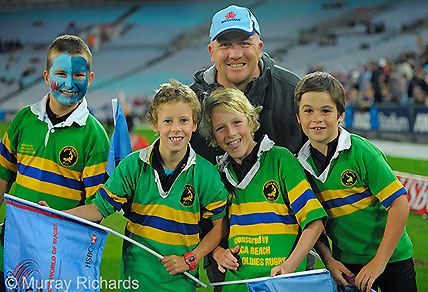 Young rugby players Waratahs-Brumbies game. (Image: Murray Richards).