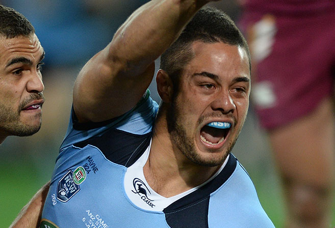 NSW Blues' Jarryd Hayne scores the opening try during Game I of the the 2013 State of Origin