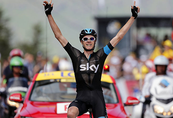 Team Sky rider Chris Froome carved out a dominant lead in the GC on Stage 8 of the 2013 Tour de France (Image: Team Sky).