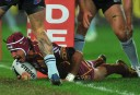 Queensland Maroons' Johnathan Thurston scores a try during 2013 State of Origin Game 3 (AAP Image/Paul Miller)