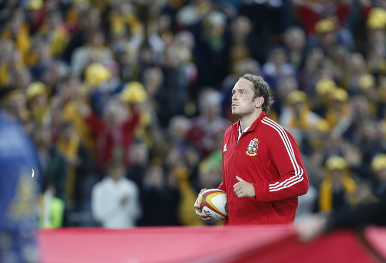 Captain Alun Wyn Jones leads the Lions out. (Photo: Paul Barkley/LookPro)