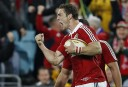 George North of the Lions celebrates scoring a try in the second half. (Photo: Paul Barkley/LookPro)