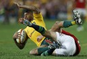 Kurtley Beale of the Wallabies goes to ground. (Photo: Paul Barkley/LookPro)