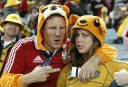 Lions and Wallabies fans get into the mood before the start of the match. (Photo: Paul Barkley/LookPro)