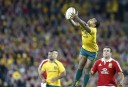 Will Genia of the Wallabies takes a catch off a Lions kick. (Photo: Paul Barkley/LookPro)