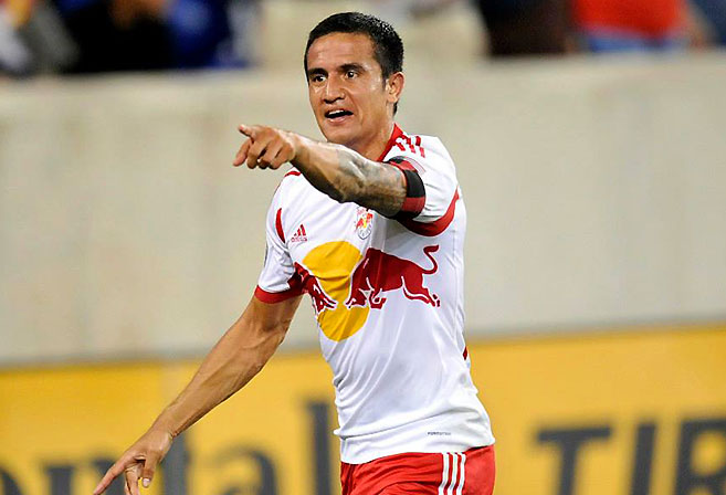 Tim Cahill celebrates his goal during New York Red Bulls' 2-1 over DC United. (Image: New York Red Bulls)
