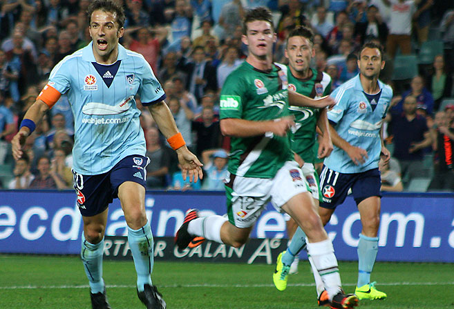 Sydney FC's Alessandro Del Piero celebrates scoring against Newcastle Jets (Image: Peter McAlpine).