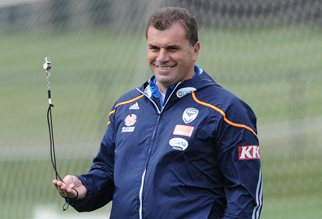 Ange Postecoglou oversees a Melbourne Victory training session.