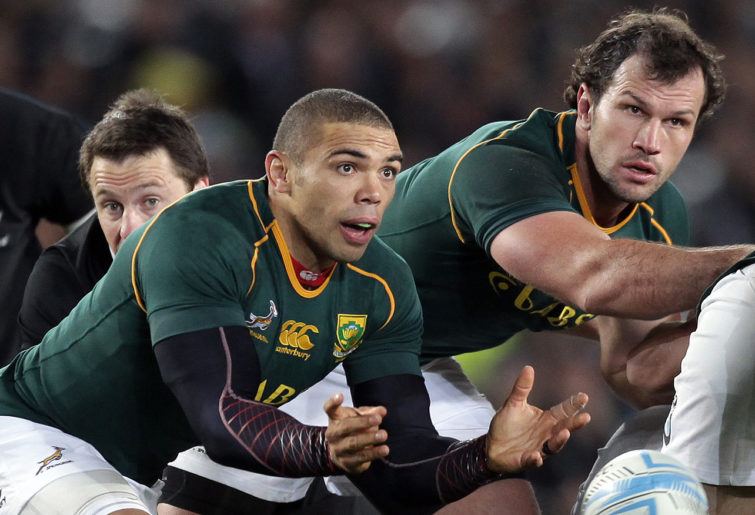 South Africa's Bryan Habana clears the ball