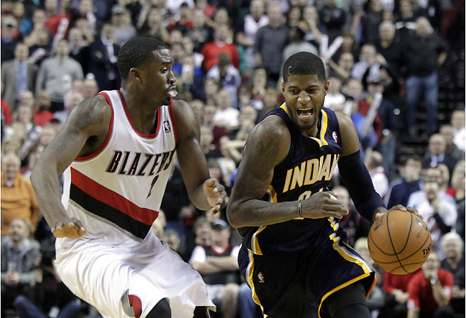 Indiana Pacers forward Paul George drives on the Portland Trailblazers