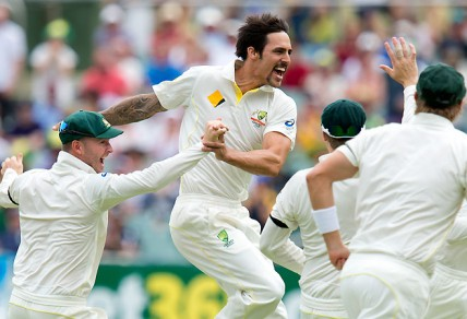 Australian bowler Mitchell Johnson. (AAP Image/Dave Hunt)
